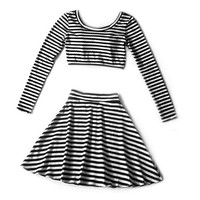 Black and White Striped Twin Set