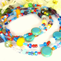 Rainbow beaded long rosary orange rondelle necklace