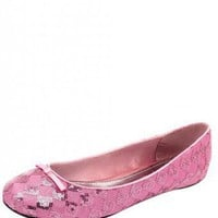 PINK CHECKERED GLITTER FLAT @ KiwiLook fashion