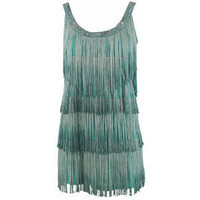 Antik Batik Palmer Fringes Dress Aqua at Misamu.com - Polyvore