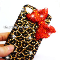 Bling iPhone case - iPhone 4 case - Bow iPhone 4s Case - Red Diamond Bow iPhone case Unique iphone case leopard skin iphone 4 cover