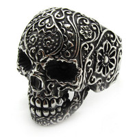 Men&#x27;s PUNK finger ring gothic poker skull silver flower stainless steel size 14