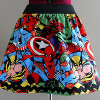 Avengers Mini Skirt, Superhero Skirt, Marvel Comics Mini Skirt, Womens Skirts