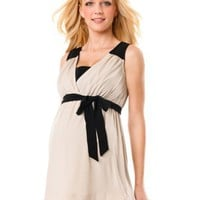 Motherhood Maternity: Sleeveless Sash Belt Maternity Tunic