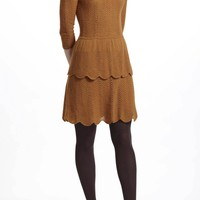 Tiered Pointelle Sweater Dress