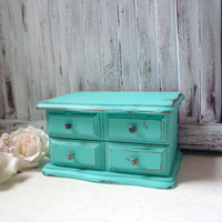 Aqua Vintage Jewelry Box, Small Wooden Jewelry Holder, Cottage Chic Teal Jewelry box, Gift Ideas