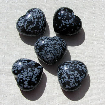 Snowflake Obsidian Solid Crystal Puffy Gemstone Heart, 40mm (One Only)
