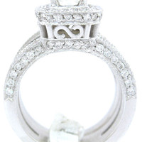 Princess cut diamond engagement ring and band 1.65ctw