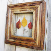 Rustic Reclaimed Wood Frame With Pressed Leave Autumn Wall Decor Yellow Orange Red Leaves Leaf Wall Decor Salvaged Wood Frame