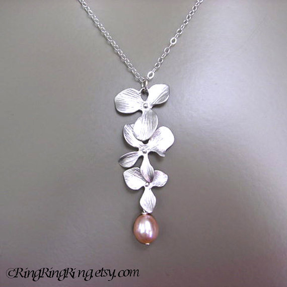 Natural cream rose Genuine Pearl and White Gold 3 flowers on Sterling silver necklace.