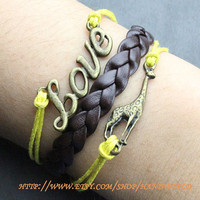 antique bronze giraffe bracelet love bracelet yellow rope bracelet brown leather bracelet-N613