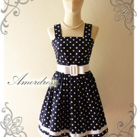 NEW Amor Vintage 50&#x27;s Rockabilly Inspired Navy and White Polka Dot Love Vintage Red Belt -Fit Size M-