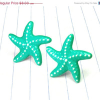 ON SALE turquoise starfish studs - turquoise earrings - turquoise jewelry - turquoise studs - starfish earrings - starfish studs - starfish