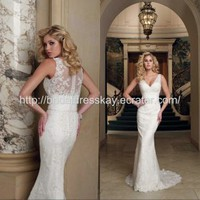 V-neckline high quality lace custom made wedding dress bridal dress wedding gown