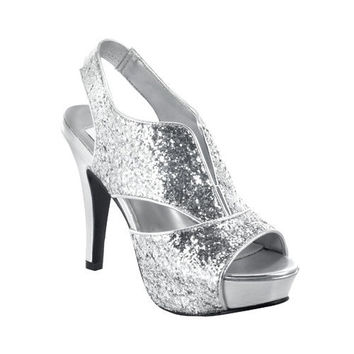 Silver Glitter Peep Toe Kat Bootie Heel - Unique Vintage - Homecoming Dresses, Pinup & Prom Dresses.