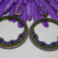 Half Moon Beaded Fairy Hoop Lavender Green