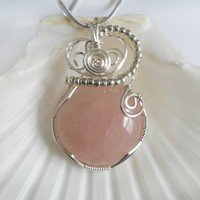 Wire Wrap Rose Quartz, Wire Wrapped Pendant, Handmade Jewelry, elainesgems