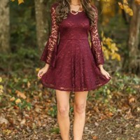 Cookies & Candy Canes Dress-Burgundy