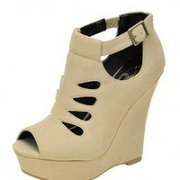 White CUT OUT DESIGN BOOTIE @ KiwiLook fashion