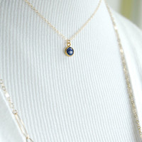 Kamaka necklace - 14kt gold filled genuine blue sapphire pendant necklace,delicate simple charm necklace, september birthstone, maui, hawaii