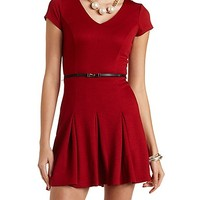 Textured Belted Skater Dress by Charlotte Russe - Wine