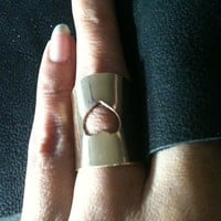 Hand Stamped  extra Wide Band Sterling Silver Ring Custom Duck Band heart cut out custom personalized