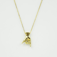 Brass Letter Y Sign Language Necklace - BRASS