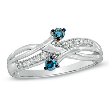 Cherished Promise Collection™ 1/5 CT. T.W. Enhanced Blue and White Diamond Orbit Ring in 10K White Gold