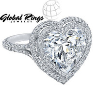 Charles and Colvard Moissanite 6.00 MM Heart Engagement Ring with Diamond Accent in 14k White Gold