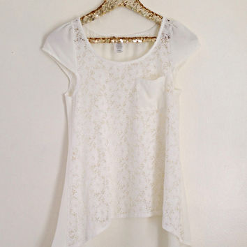 Lace Cream Pocket Tee
