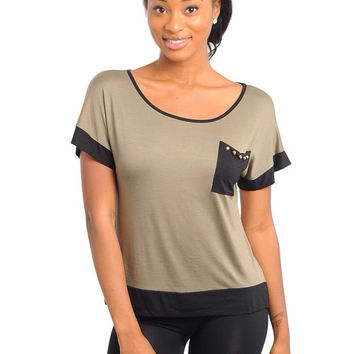 Olive Studded Pocket Tee