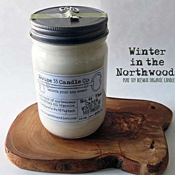 organic soy beeswax candle scent No. 44 The Cabin - Winter in the Northwoods, essential oils, natural fragrance hand poured small batch, fresh and clean