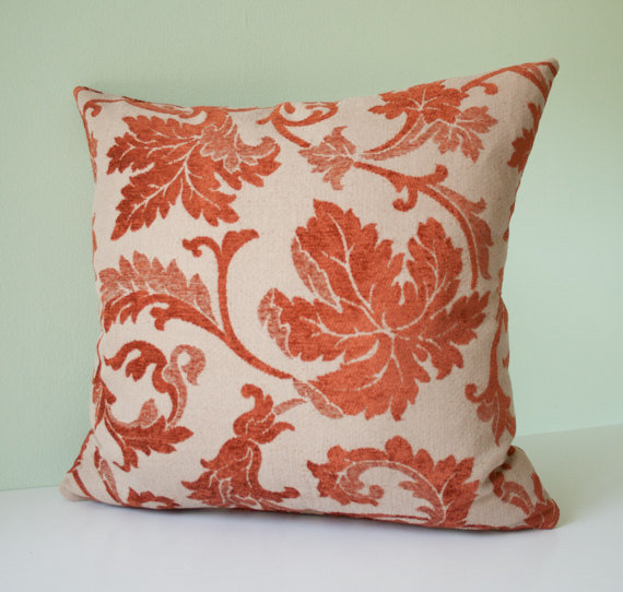Beige and rust red decorative accent from pillowdy on Etsy My