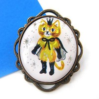 Puss in Boots Kitty Cat Samurai Shiny Yellow Pin Brooch