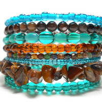 Memory Wire Bracelet Brown and Teal Stacked Bracelet Beaded Wrap Bracelet