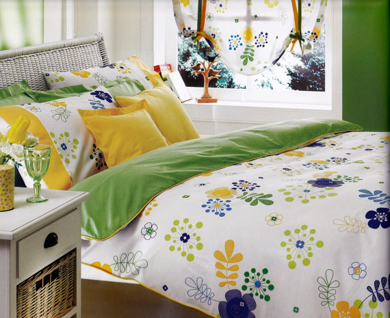 Custom Queen Size Lime Green Yellow Navy From MyveraLinen