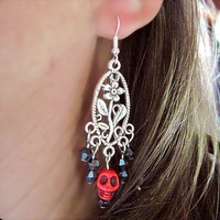 Pierced Earrings Dia de los Muertos, Day of the Dead Skulls & Crystals