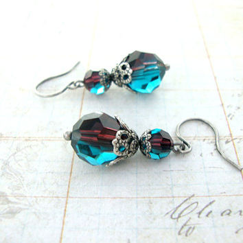 Regal Peacock - Swarovski Crystal Victorian Peacock Earrings - Purple and Teal Antiqued Silver Filigree - Peacock Colors Victorian Jewelry