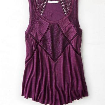 AEO Women's Embroidered Lace Tank