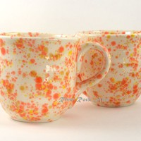 Large Ceramic Mugs Orange Yellow and White on Handmade Artists' Shop