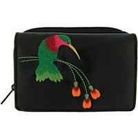 Humingbird vegan/faux leather small wallet with embroidery - 