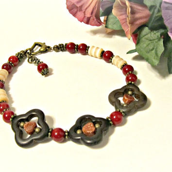 Moroccan Bracelet in Red, Brown & Ivory - Howlite, Bamboo Coral, Cats Eye, Goldstone, Ant Brass - Long bracelet, Anklet - Christmas Gift