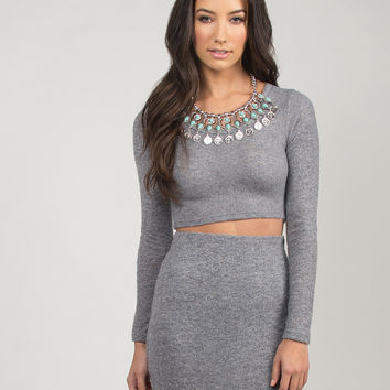 Fuzzy Cropped Sweater - Gray /