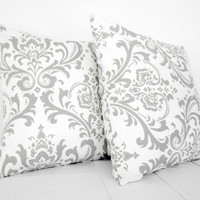 Grey Damask White Pillow Covers 18 inch