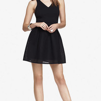 MESH SKIRT FIT AND FLARE DRESS from EXPRESS