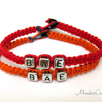 Couples or Friendship Bracelet Set, BAE, Red and Orange Macrame Hemp Jewelry, Made to Order