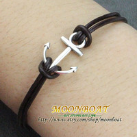 Anchor Bracelet---Antique Silver Little Anchor Bracelet &amp;Brown Leather Chain MB726
