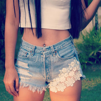 Boho Festival clothing High waisted denim shorts White Lace crochet jeans Hipster Tumblr by…