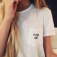 IEVA F*CK OFF EMBROIDERY TOP
