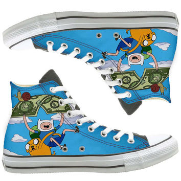Adventure Time Painted custom painted shoes, custom shoes by natalshoes